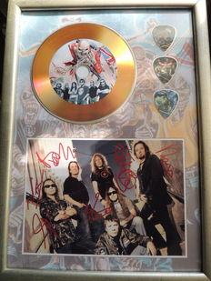 Iron Maiden Beautiful Signed (in print) Picture Framed Plated Gold Disc Framed