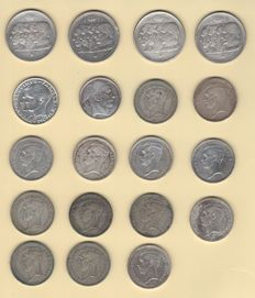 Belgium – 20, 50 and100 franc pieces - 1934 to 1960 (19 coins) – silver.