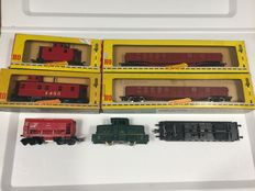 Fleischmann H0 - Shunting locomotive and 6 various beautiful carriages
