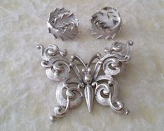 Vintage Crown TRIFARI Silver Tone Butterfly Brooch and Swirl Earrings