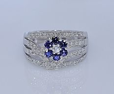 1 Ct Sapphires and Diamonds floral ring - No reserve price!