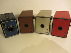 4 different colours Kodak Box cameras with bags
