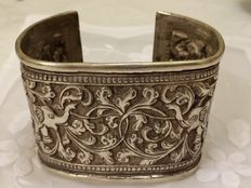 Broad, silver cuff bracelet - India- around 1880.