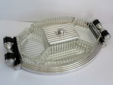 Art Deco hors d'oeuvre tray with mirror and 5 crystal bowls