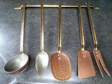 Heavy red and yellow copper spoon rack tinted
