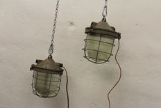Unknown designer – 2x lamps from bunkers,  Industrial lights