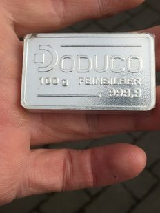 Germany - DUCUCO 100 grams 999.9 silver bullion - with certificate - cast/unique