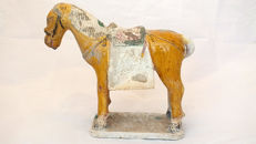 Chinese Ming Dynasty Glazed Pottery Horse with Saddle - TL test - 27 cm