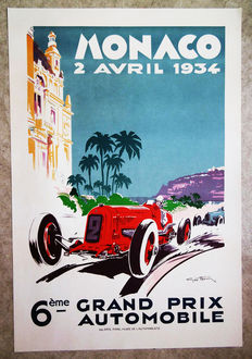 Large serigraphy of the Grand Prix Automobile of Monaco -Geo Ham - 1934