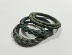 3 Medieval bronze Viking period twisted rings - 20-22mm; 11.8g