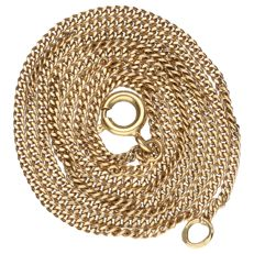 Yellow gold curb link necklace of 14 kt