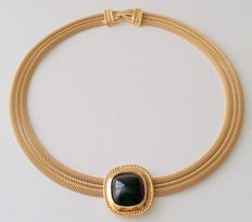 Vintage TRIFARI Gold Plated Black Cabochon Mesh Collar Necklace