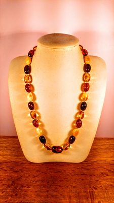 Genuine Baltic amber multicolour necklace, 52gr