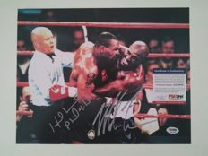 Mike Tyson & Holyfield - 14 x 11 cm hand-signed photograph - Rematch - With a PSA/DNA certificate of authenticity