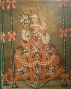 Mexican school (19th c.)  - The Virgin with the baby Jesus and angels