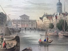 Amsterdam; 12 detailed steel engravings with city views and buildings - ca. 1844