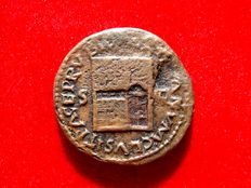 Roman Empire -  Nero (54-68 A.D.), bronze as (10,92 g. 26 mm.) from Rome mint, 65 A.D. Sanctuary of Janus Geminus with closed door wings.