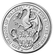 United Kingdom - 5 Exchange - 2 oz the Queens of beasts - Dragon of Wales 2017-999 silver coin