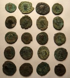 Roman Empire - Lot of 20 uncleaned AE coins, 2nd half 3rd century AD.