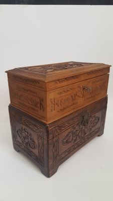 Two boxes made of hardwood with carved decorations – China – second half of the 20th century