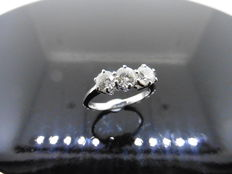 18k Gold Trilogy Diamond Ring- 1.20ct  I/J, SI1 - size 52