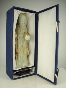 Large, serpentine statue of Shou Lau in original box - China - 1972.