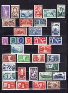 France 1936/1937/1938 – Complete years 1936 (except for no. 321) & 1937 (except for block 348/351) + selection from 1938 - Yvert no. 309/418
