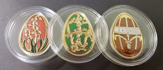 Cook Islands – 5 Dollars – 2013 'Red, olive, and gold Imperial Eggs' (3 Coins) – Silver.