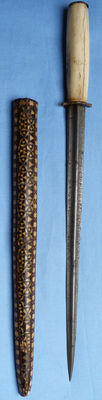 Late-19th Century North African Inlaid Bone Dagger and Scabbard