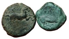Greek Antiquity - Lot x 2 of Italy, Northern Apulia, Arpi - AE, c. 275-250 BC - Bull / Horse - HN Italy 645