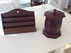 Victorian mahogany octagonal tea box and and Edwardian oak letter holder - England ca. 1880 and ca. 1910.