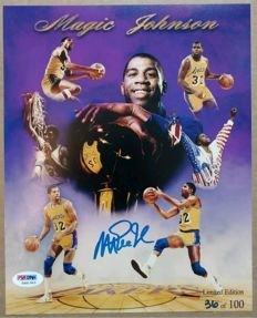 Magic Johnson - 8 x 10 cm hand-signed photograph - Limited edition (number 36) - With a PSA/DNA certificate