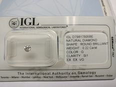 0.22 ct Round cut diamond G SI1