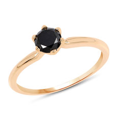 14kt Gold ring with black diamond 0.50 ct. ***No reserve price***