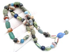 Viking Necklace with Coloured Glass and Stone Bead  - 560 mm