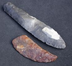Flint dagger and sickle fragment - 14.2 cm and 8.3 cm
