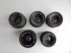 A lot of 5 lenses 3 x Pentacon 1 x Prakticar PB and a Porst Color Reflex