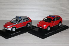 Minichamps / Norev - Scale 1/43 - Porsche Cayenne S & Cayenne V6 - fire department cars
