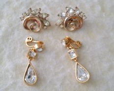 Vintage Crown TRIFARI Alfred Philippe Gold Tone Clear Rhinestone Earrings and MONET Gold Plated Dangle Earrings