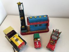 Ne-kur, Turkey / CSSR/USSR - Length 12-30 cm - Lot with fire truck and Jeep, excavator and tractor with frictional/clockwork motor, 80s