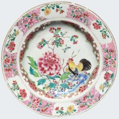 Famille rose cockerel plate - China - 18th century