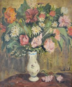 Charles Real (1898-1979) - Still life of a vase of mixed flowers