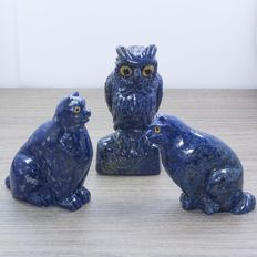 Set of lapis lazuli figurines - Pair of cats with an owl - 70 to 83 mm - 378 g (3)