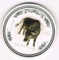 Australia - 1 Dollar 2007 'Year of the Ox 2009' - 1 oz silver and gold plated