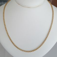 Rolo-link 18 kt yellow gold necklace - 50 cm