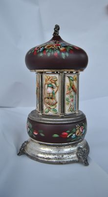 Ceramic and metal cigarette dispenser with music box - 1940s/50s
