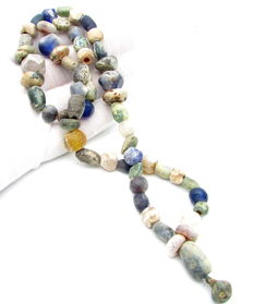 Viking Necklace with Coloured Glass and Stone Bead  - 580 mm