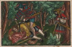Hans Weiditz (1500-.1536) - Murder on a pilgrim with insignes in his hat  - Old coloured woodcut  - 1531