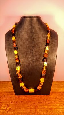 Genuine Baltic amber multicolour necklace, 51 grams