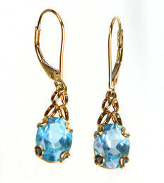 Blue topaz – 333 gold earrings
